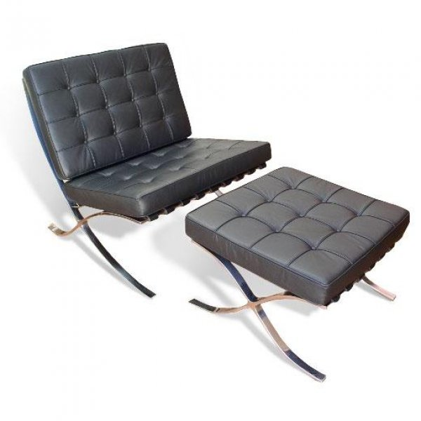 barcelona chair and ottoman by ludwig mies van der rohe. Black Bedroom Furniture Sets. Home Design Ideas