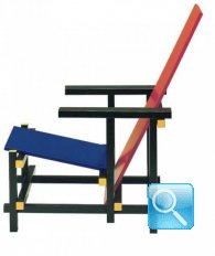 Red and blue chair by gerrit thomas rietveld bauhaus italy for Bauhaus italia